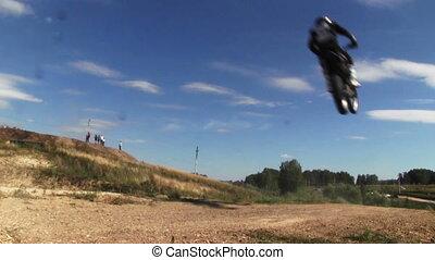 Jumping motocross racer - NOVOSIBIRSK, RUSSIA - August 29,...