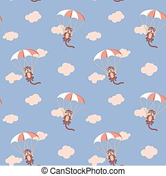 Pattern of monkeys with parachute Rose Quartz and Serenity...
