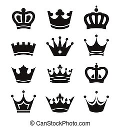 Crown icons isolated on white background