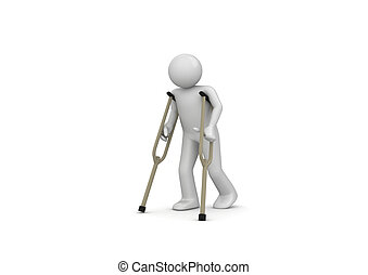 Injured man on crutches - 3d isolated on white background...