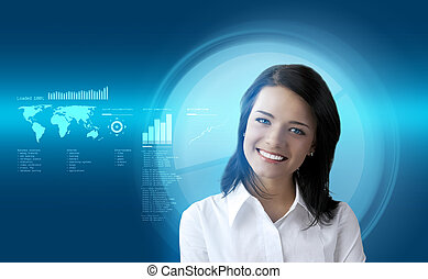Happy smiling brunette futuristic interface - outstanding...