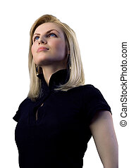 Attractive blonde isolated - outstanding business people in...