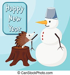 Hedgehog is building a snowman. Happy new year message at...