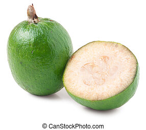 One whole and a half feijoa isolated on white background