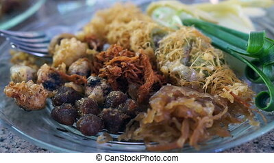 Thai traditional summer cold food, Khaw chae Jasmine rice in...