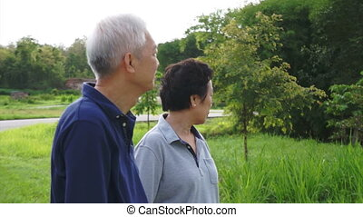 asian senior couple pointing park - Video of Happy asian...