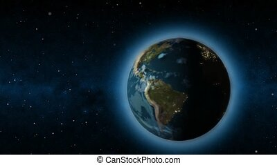 Rotating Earth changing from day to night