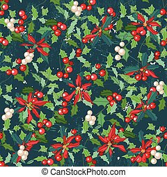 Seamless dark green pattern with traditional festive flower - Christmas star.