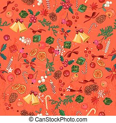 Seamless bright orange pattern with traditional Christmas...