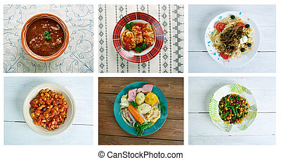 set American cuisine - Food set American cuisine.collage