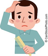 Trouble of thinning hair - Vector illustration.
