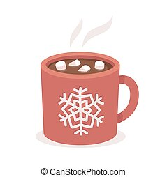 Hot chocolate cup with marshmallows, red with snowflake...