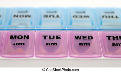 Plastic box with small separations for each day of the week...