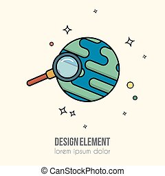 Earth and magnifying glass icon