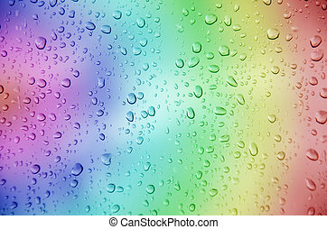 Drop water - drop water with multicolor background