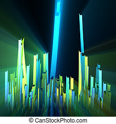Colorful abstract cityscape skyline glowing