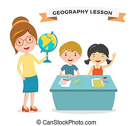 Kids school geography lessons illustration Geographic...