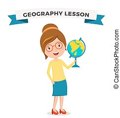 School geography lessons woman teacher illustration...