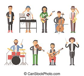Musicians people flat vector illustration Musician cartoon...