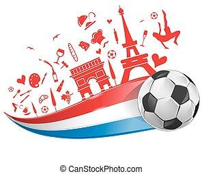 FRANCE flag with soccer ball - FRANCE flag and symbol set...