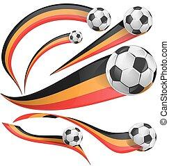 portugal flag set whit soccer ball
