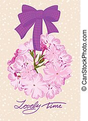 Greeting wedding card with flower wreath - Greeting wedding...