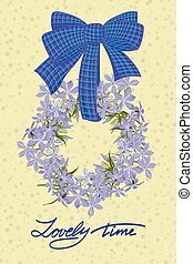 Greeting wedding card with flower wreath Vector illustration...