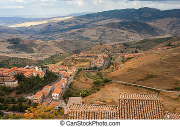 View of Troina, little town in Sicily. Italy