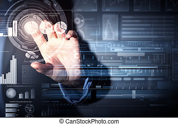 Average sales report - Businessman hand touching with finger...
