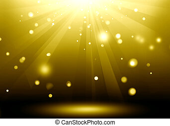 Abstract image of gold lighting flare on the floor stage :...