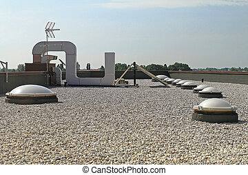 Gravel Flat Roof - Flat Roof With Gravel and Skylight...