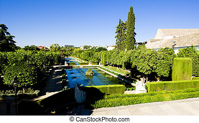 The gardens of the Alcazar of Catholic Kings, Cordoba,...
