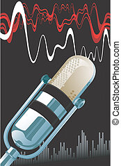 Microphone - Illustration of a Metallic microphone