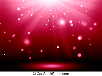 Abstract image of red lighting flare on the floor stage :...