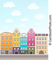 retro houses and sky with clouds. vector