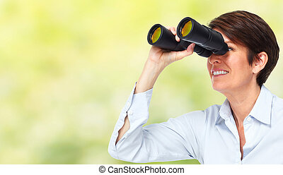 Business woman with binoculars. - Business woman with...