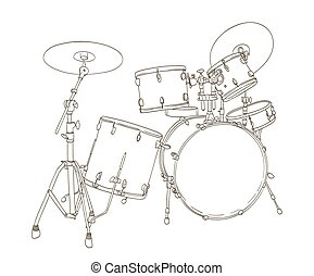 drum set drawing on white. vector