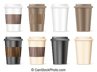 cup of coffee to go with variations. vector