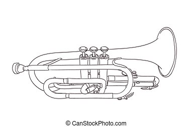 cornet wind musical instrument drawing on white