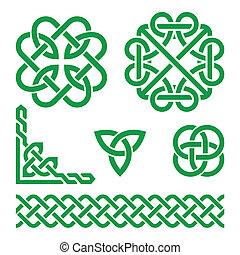 Celtic green Irish knots, braids an - Vector set of...