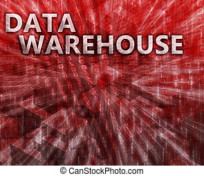 Data warehouse illustration - Data warehouse abstract,...