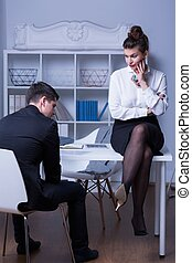 Boss criticizing employee - Workplace mobbing - female boss...