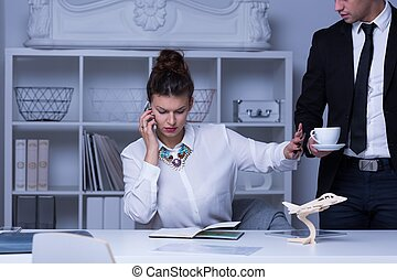 Businesswoman refusing coffee cup - Photo of busy...