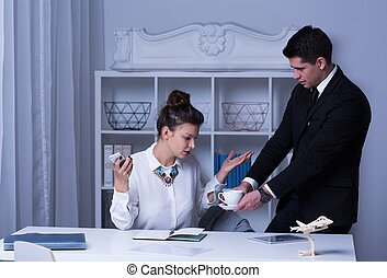 Female boss in the office - Female boss and male secretary...