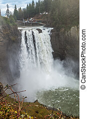 Powerful Snoqualmie Falls 3 - A heavy mist rises as...