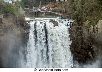 Powerful Snoqualmie Falls 4 - A heavy mist rises as...