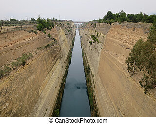 Corinth Canal - The Corinth Canal in Corinth Greece.