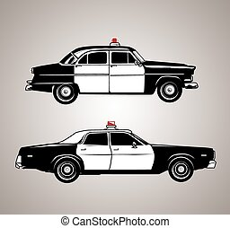 Vintage Police Cars - Profile set of antique police cars