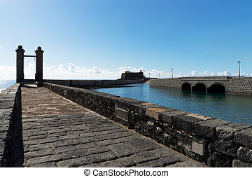 Ball Bridge in Arrecife, two canonballs on top of the bridge...