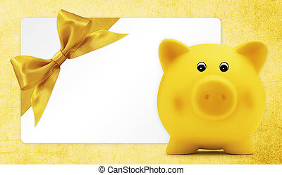 card gift with piggy bank, golden ribbon bow, Isolated on...